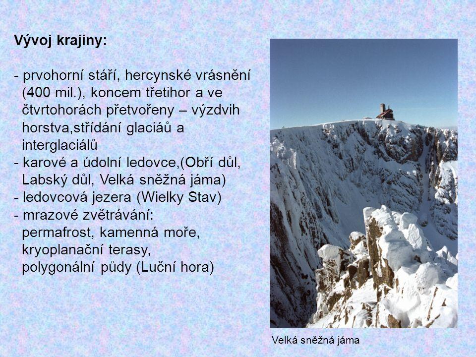 Vývoj krajiny: - prvohorní stáří, hercynské vrásnění (400 mil.), koncem třetihor a ve čtvrtohorách přetvořeny – výzdvih horstva,střídání glaciáů a int