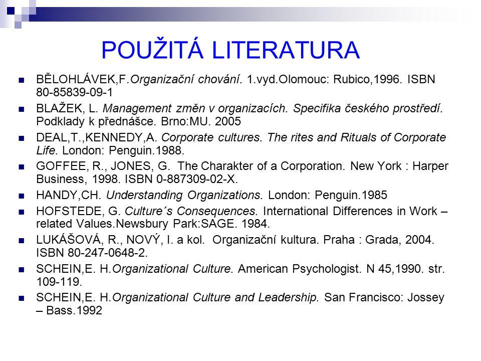 POUŽITÁ LITERATURA BĚLOHLÁVEK,F.Organizační chování. 1.vyd.Olomouc: Rubico,1996. ISBN 80-85839-09-1 BLAŽEK, L. Management změn v organizacích. Specifi