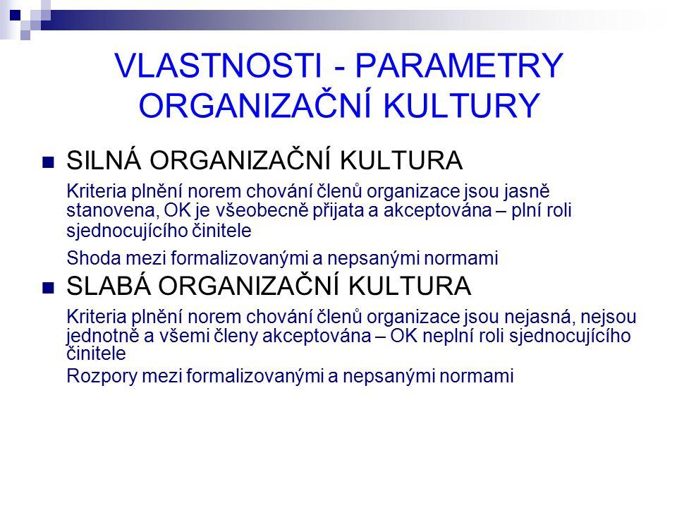 VLASTNOSTI - PARAMETRY ORGANIZAČNÍ KULTURY SILNÁ ORGANIZAČNÍ KULTURA Kriteria plnění norem chování členů organizace jsou jasně stanovena, OK je všeobecně přijata a akceptována – plní roli sjednocujícího činitele Shoda mezi formalizovanými a nepsanými normami SLABÁ ORGANIZAČNÍ KULTURA Kriteria plnění norem chování členů organizace jsou nejasná, nejsou jednotně a všemi členy akceptována – OK neplní roli sjednocujícího činitele Rozpory mezi formalizovanými a nepsanými normami