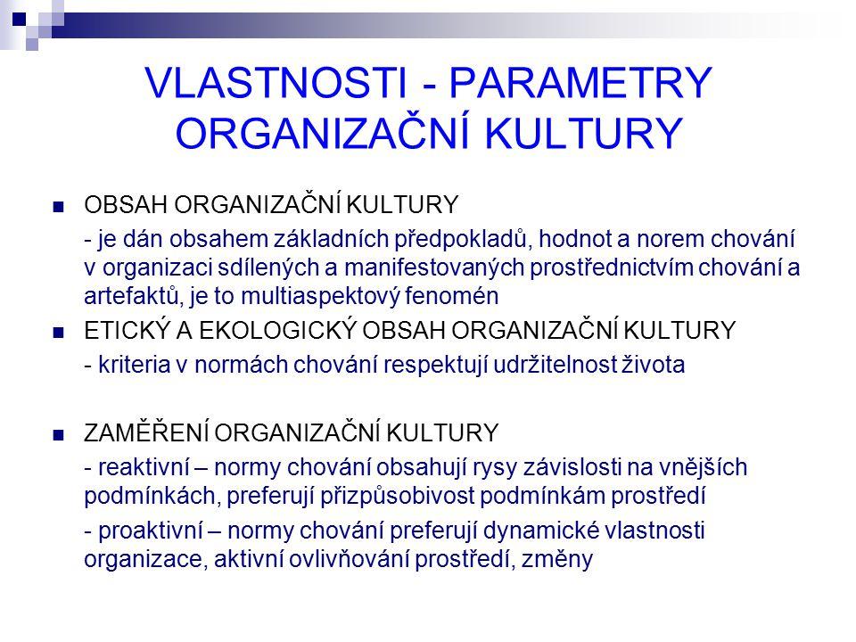 VLASTNOSTI - PARAMETRY ORGANIZAČNÍ KULTURY OBSAH ORGANIZAČNÍ KULTURY - je dán obsahem základních předpokladů, hodnot a norem chování v organizaci sdílených a manifestovaných prostřednictvím chování a artefaktů, je to multiaspektový fenomén ETICKÝ A EKOLOGICKÝ OBSAH ORGANIZAČNÍ KULTURY - kriteria v normách chování respektují udržitelnost života ZAMĚŘENÍ ORGANIZAČNÍ KULTURY - reaktivní – normy chování obsahují rysy závislosti na vnějších podmínkách, preferují přizpůsobivost podmínkám prostředí - proaktivní – normy chování preferují dynamické vlastnosti organizace, aktivní ovlivňování prostředí, změny