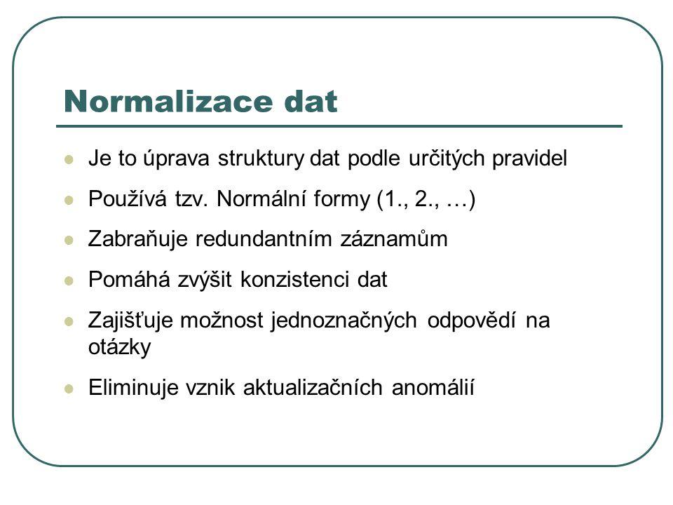 Je to úprava struktury dat podle určitých pravidel Používá tzv. Normální formy (1., 2., …) Zabraňuje redundantním záznamům Pomáhá zvýšit konzistenci d