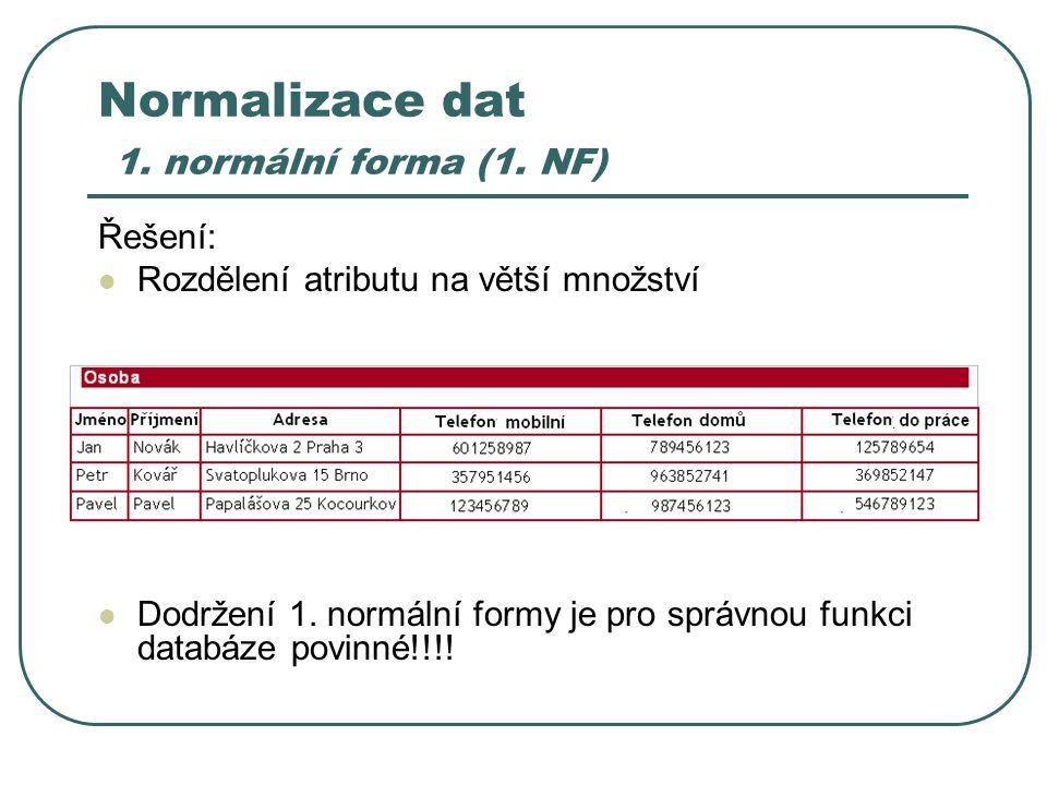 Normalizace dat 1. normální forma (1. NF) Řešení: Rozdělení atributu na větší množství Dodržení 1. normální formy je pro správnou funkci databáze povi