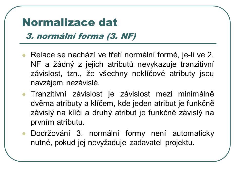 Normalizace dat 3. normální forma (3. NF) Relace se nachází ve třetí normální formě, je-li ve 2. NF a žádný z jejich atributů nevykazuje tranzitivní z