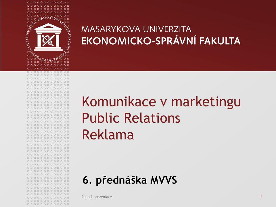 Zápatí prezentace1 6.přednáška MVVS 6.