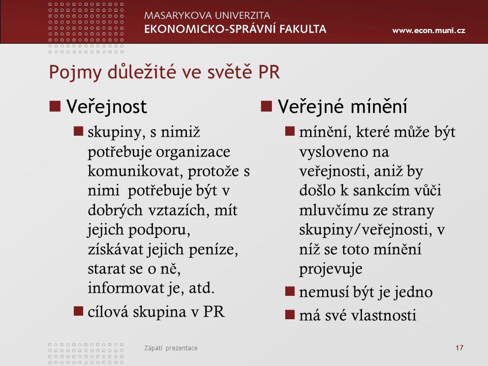 www.econ.muni.cz Pojmy důležité ve světě PR Veřejnost skupiny, s nimi ž pot ř ebuje organizace komunikovat, proto ž e s nimi pot ř ebuje být v dobrých vztazích, mít jejich podporu, získávat jejich peníze, starat se o n ě, informovat je, atd.