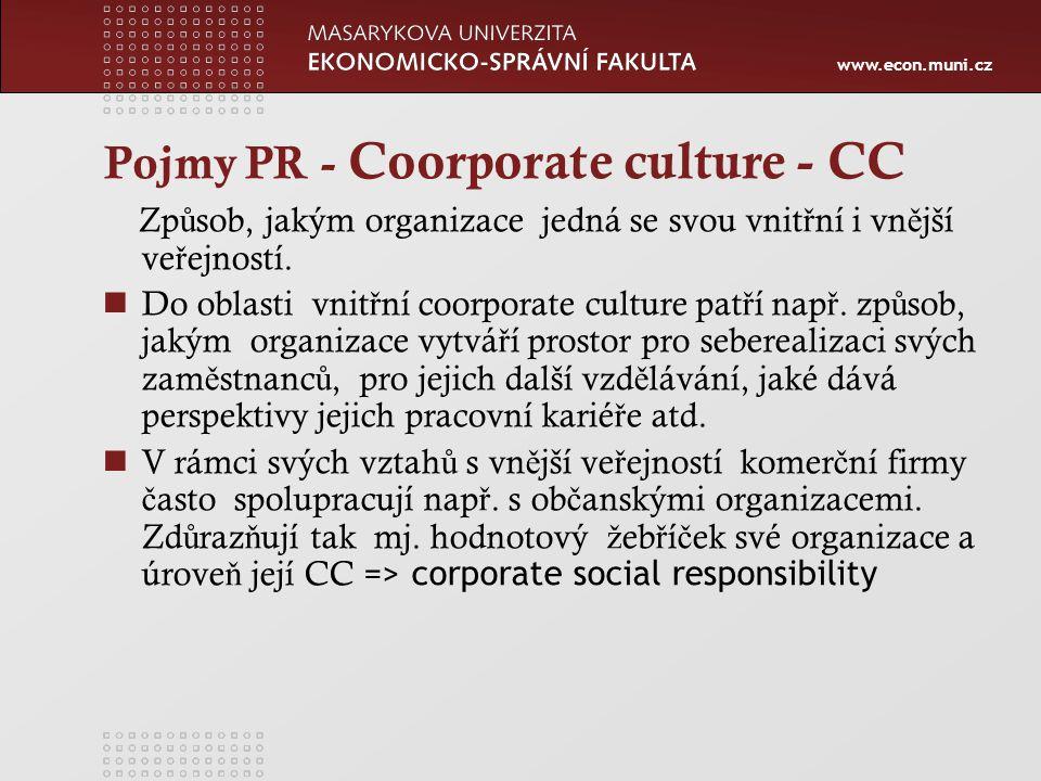 www.econ.muni.cz Pojmy PR - Coorporate culture - CC Zp ů sob, jakým organizace jedná se svou vnit ř ní i vn ě jší ve ř ejností.