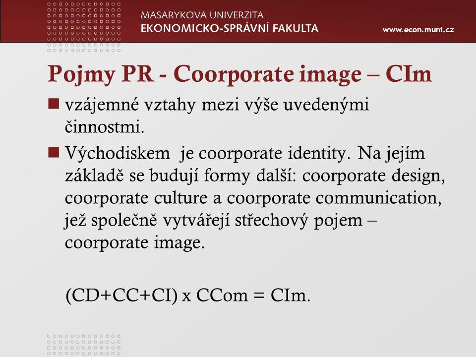 www.econ.muni.cz Pojmy PR - Coorporate image – CIm vzájemné vztahy mezi výše uvedenými č innostmi.