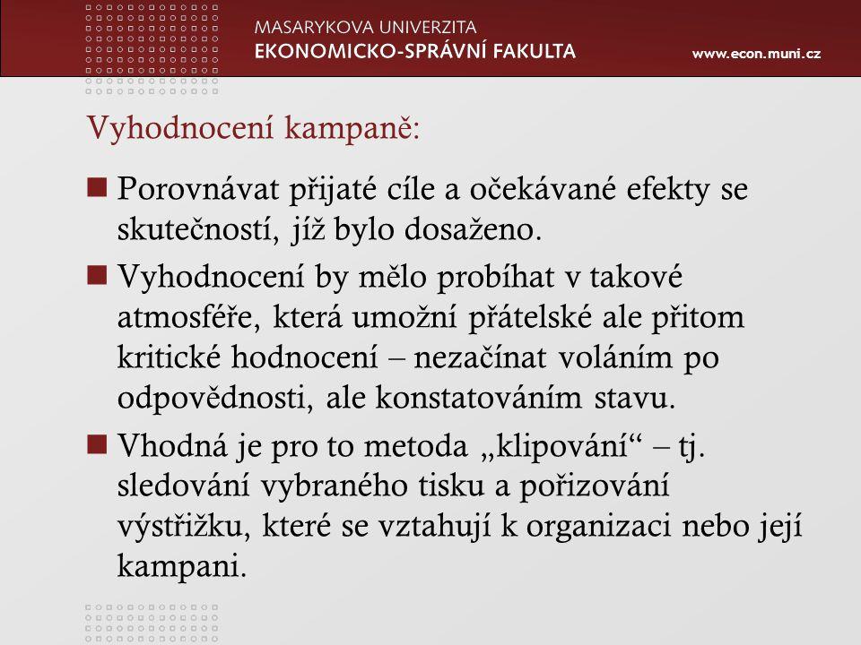 www.econ.muni.cz Vyhodnocení kampan ě : Porovnávat p ř ijaté cíle a o č ekávané efekty se skute č ností, jí ž bylo dosa ž eno.