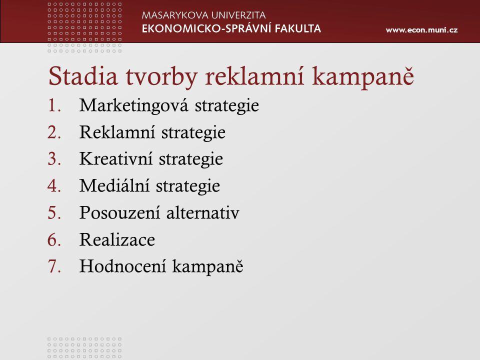 www.econ.muni.cz Stadia tvorby reklamní kampan ě 1.Marketingová strategie 2.Reklamní strategie 3.Kreativní strategie 4.Mediální strategie 5.Posouzení alternativ 6.Realizace 7.Hodnocení kampan ě