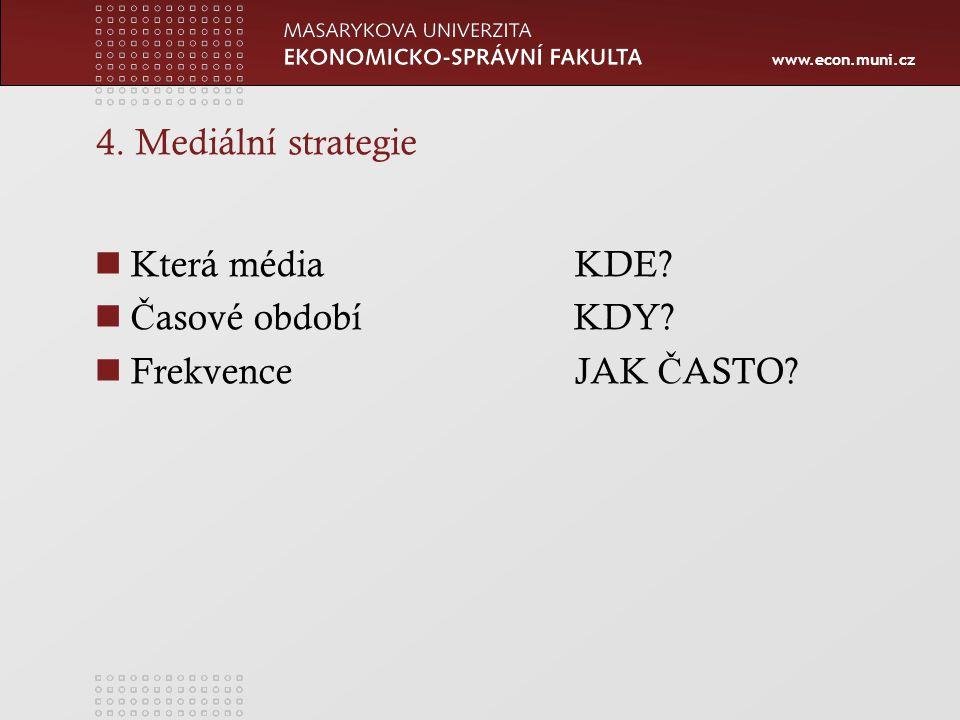 www.econ.muni.cz 4. Mediální strategie Která médiaKDE? Č asové období KDY? FrekvenceJAK Č ASTO?