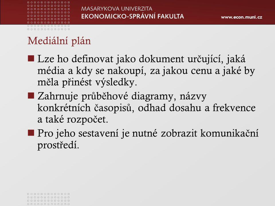 www.econ.muni.cz Mediální plán Lze ho definovat jako dokument ur č ující, jaká média a kdy se nakoupí, za jakou cenu a jaké by m ě la p ř inést výsledky.