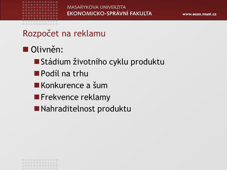 www.econ.muni.cz Rozpočet na reklamu Olivněn: Stádium životního cyklu produktu Podíl na trhu Konkurence a šum Frekvence reklamy Nahraditelnost produktu