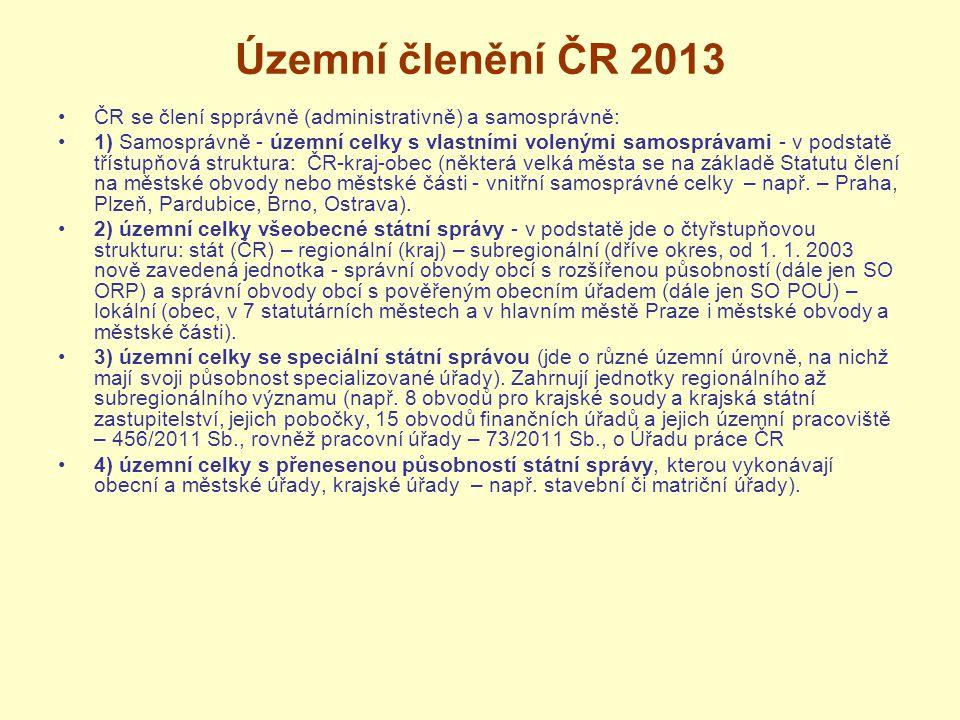 Územní členění ČR 2013 ČR se člení spprávně (administrativně) a samosprávně: 1) Samosprávně - územní celky s vlastními volenými samosprávami - v podst