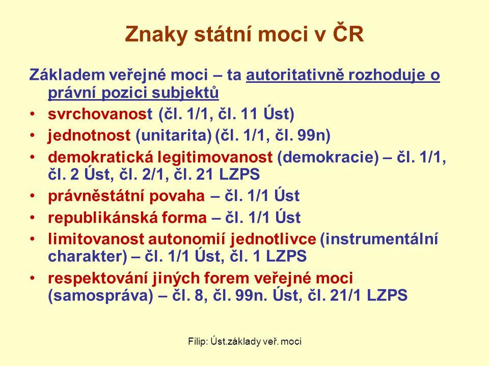 Znaky státní moci v ČR Základem veřejné moci – ta autoritativně rozhoduje o právní pozici subjektů svrchovanost (čl. 1/1, čl. 11 Úst) jednotnost (unit