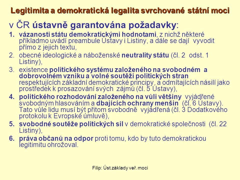 Filip: Úst.základy veř. moci Legitimita a demokratická legalita svrchované státní moci v ČR ústavně garantována požadavky: 1.vázanosti státu demokrati
