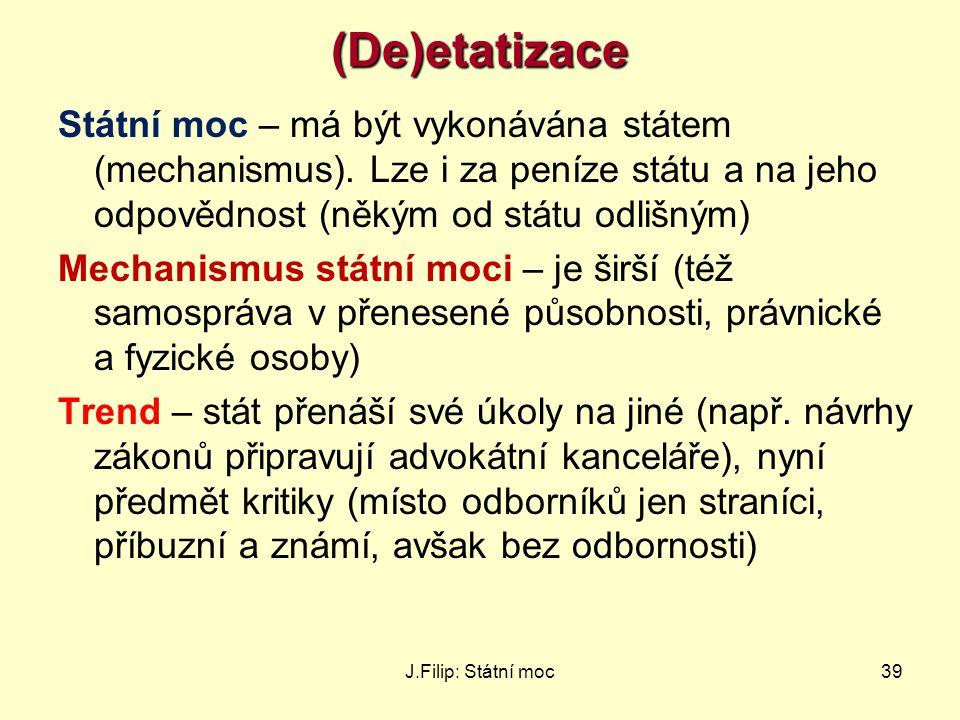 J.Filip: Státní moc39(De)etatizace Státní moc – má být vykonávána státem (mechanismus). Lze i za peníze státu a na jeho odpovědnost (někým od státu od