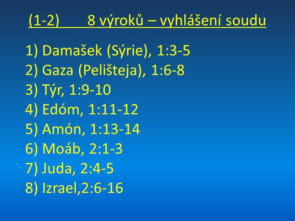 (1-2) 8 výroků – vyhlášení soudu 1) Damašek (Sýrie), 1:3-5 2) Gaza (Pelišteja), 1:6-8 3) Týr, 1:9-10 4) Edóm, 1:11-12 5) Amón, 1:13-14 6) Moáb, 2:1-3 7) Juda, 2:4-5 8) Izrael,2:6-16