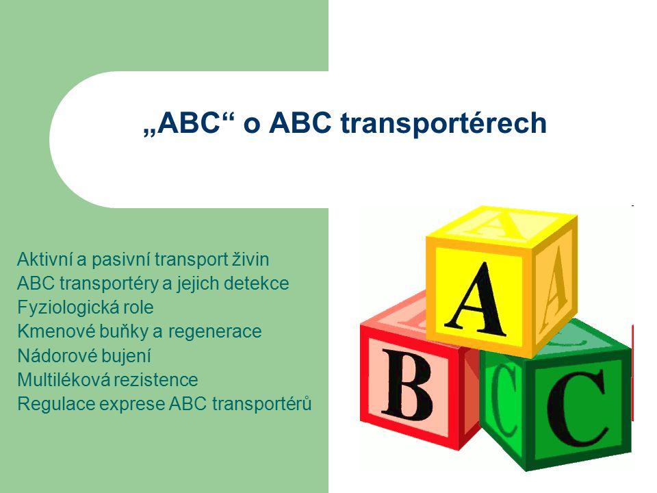 """""""ABC o ABC transportérech Aktivní a pasivní transport živin ABC transportéry a jejich detekce Fyziologická role Kmenové buňky a regenerace Nádorové bujení Multiléková rezistence Regulace exprese ABC transportérů"""