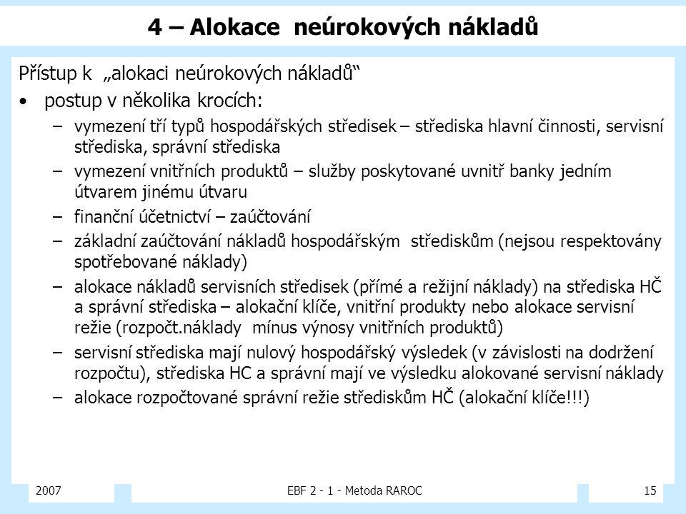 """2007EBF 2 - 1 - Metoda RAROC15 4 – Alokace neúrokových nákladů Přístup k """"alokaci neúrokových nákladů"""" postup v několika krocích: –vymezení tří typů h"""