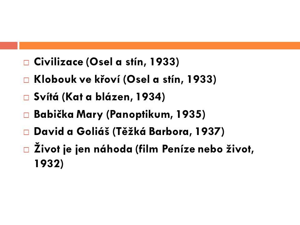  Civilizace (Osel a stín, 1933)  Klobouk ve křoví (Osel a stín, 1933)  Svítá (Kat a blázen, 1934)  Babička Mary (Panoptikum, 1935)  David a Goliá