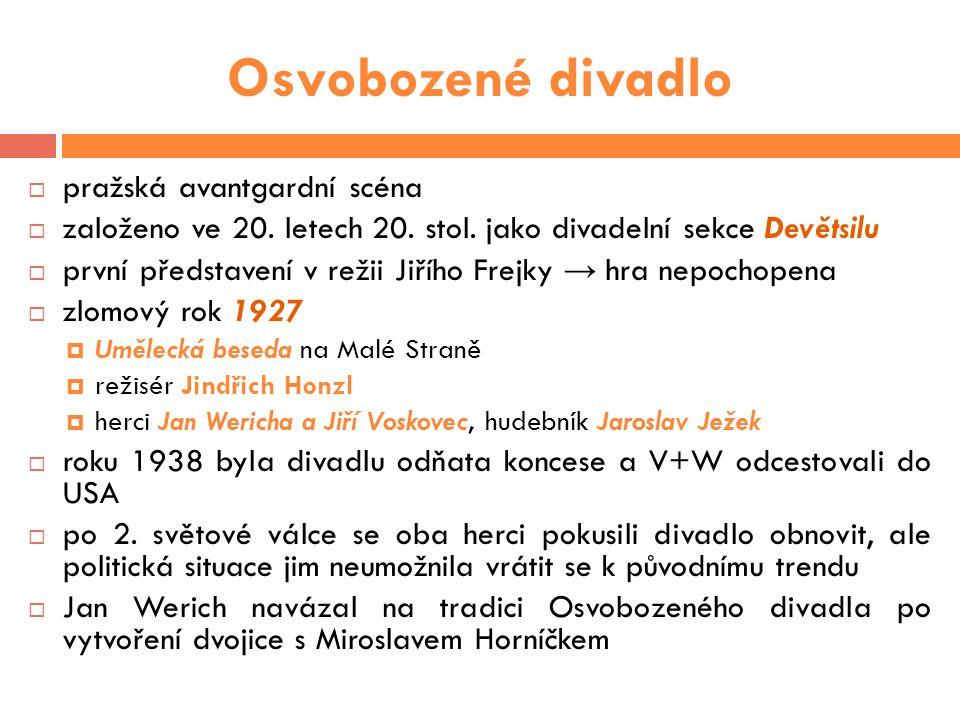 Písničky  Nedílnou součástí divadelních her byla hudba a písně Jaroslava Ježka - geniálního klavíristy  Tři strážníci (Skafandr, 1929)  Tmavomodrý svět (Ostrov Dynamit, 1930)  Bugatti step (Don Juan & comp., 1931)  Pochod stoprocentních mužů (Golem, 1931)  Nikdy nic nikdo nemá (Golem, 1931)  Ezop a brabenec (Caesar, 1932)
