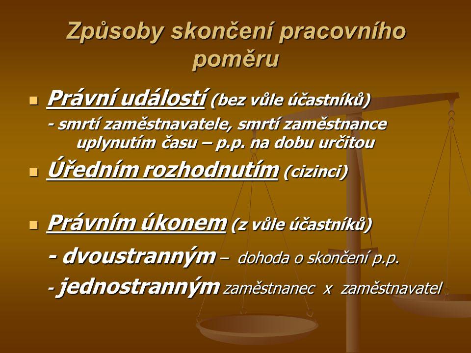 Způsoby skončení pracovního poměru Právní událostí (bez vůle účastníků) Právní událostí (bez vůle účastníků) - smrtí zaměstnavatele, smrtí zaměstnance