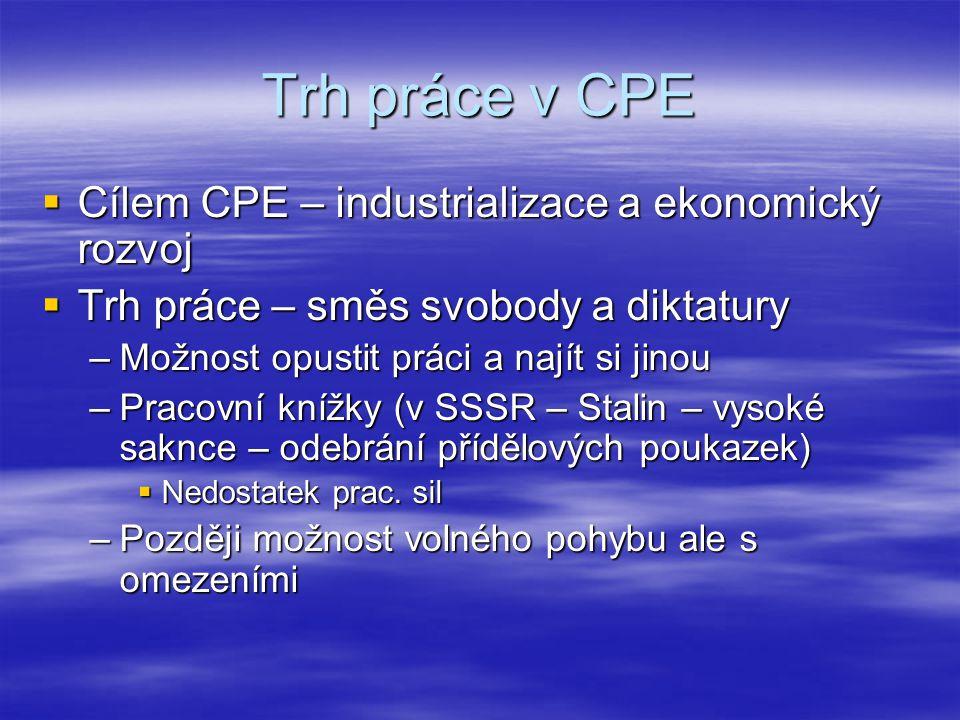 Trh práce v CPE  Cílem CPE – industrializace a ekonomický rozvoj  Trh práce – směs svobody a diktatury –Možnost opustit práci a najít si jinou –Prac