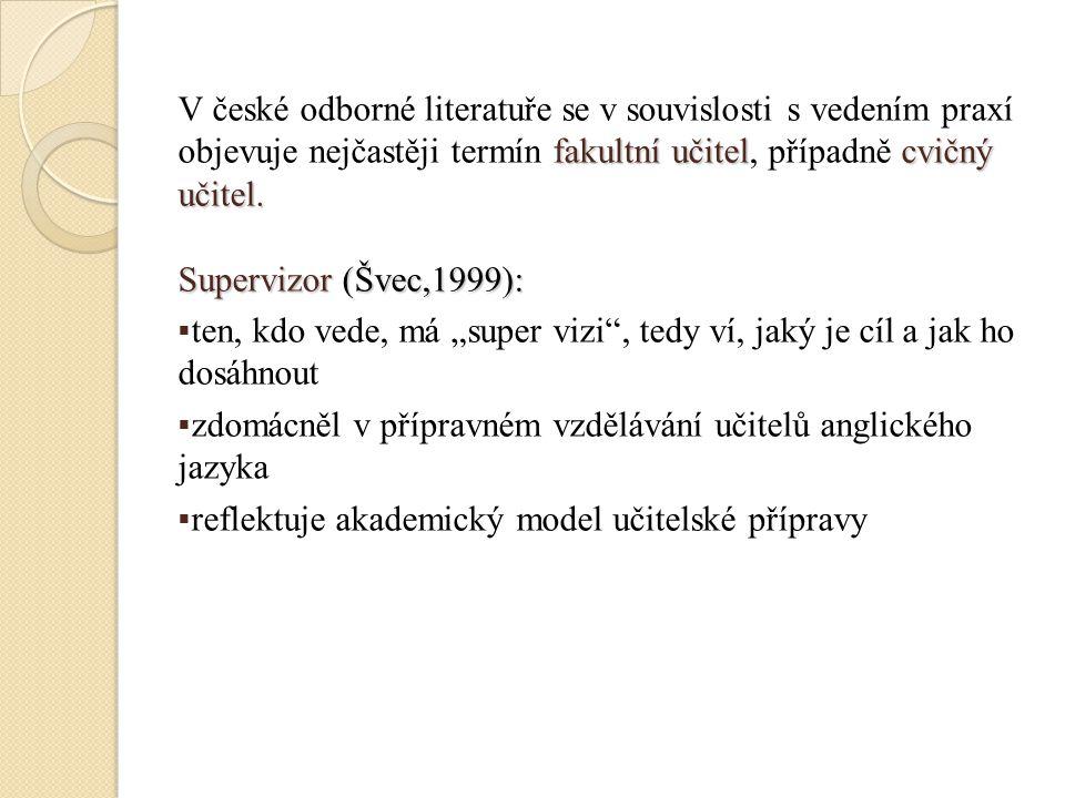 fakultní učitelcvičný učitel. V české odborné literatuře se v souvislosti s vedením praxí objevuje nejčastěji termín fakultní učitel, případně cvičný