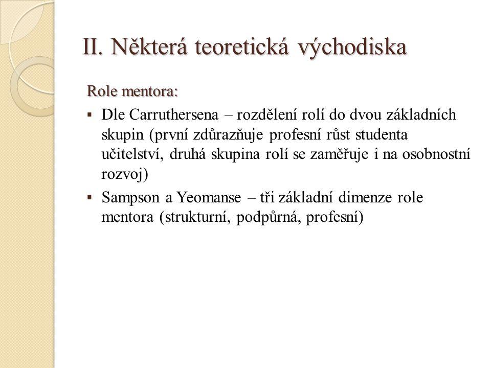 II. Některá teoretická východiska Role mentora:  Dle Carruthersena – rozdělení rolí do dvou základních skupin (první zdůrazňuje profesní růst student