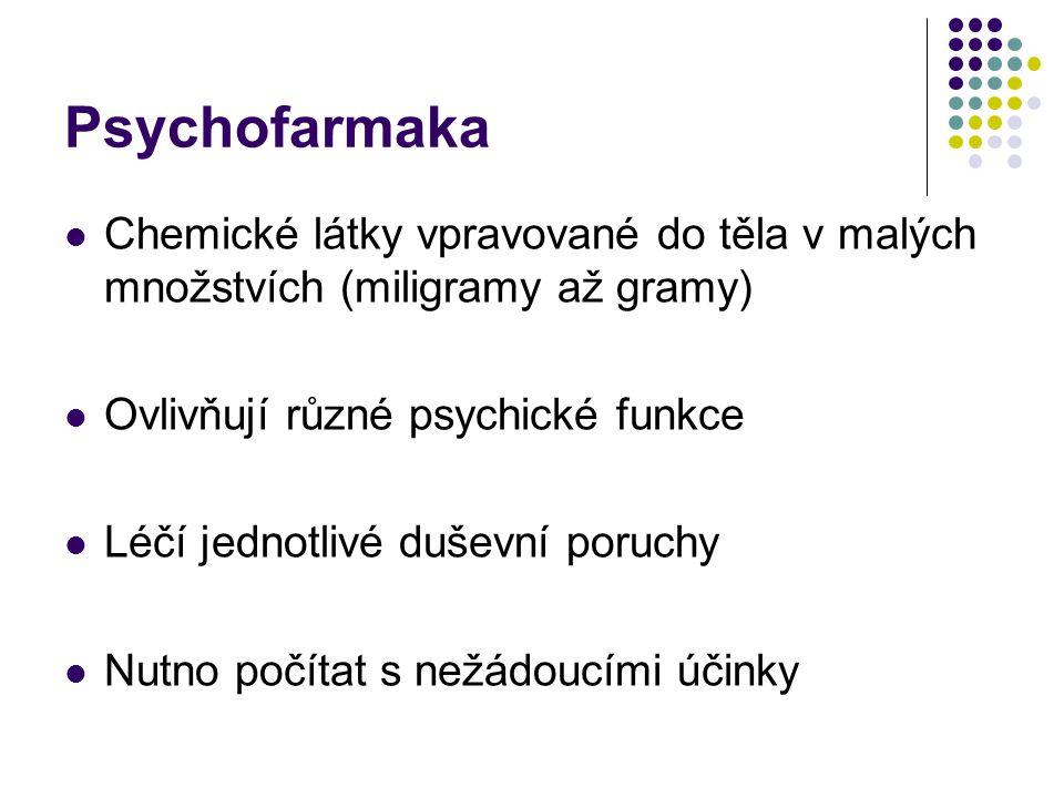 Psychofarmaka Chemické látky vpravované do těla v malých množstvích (miligramy až gramy) Ovlivňují různé psychické funkce Léčí jednotlivé duševní poru