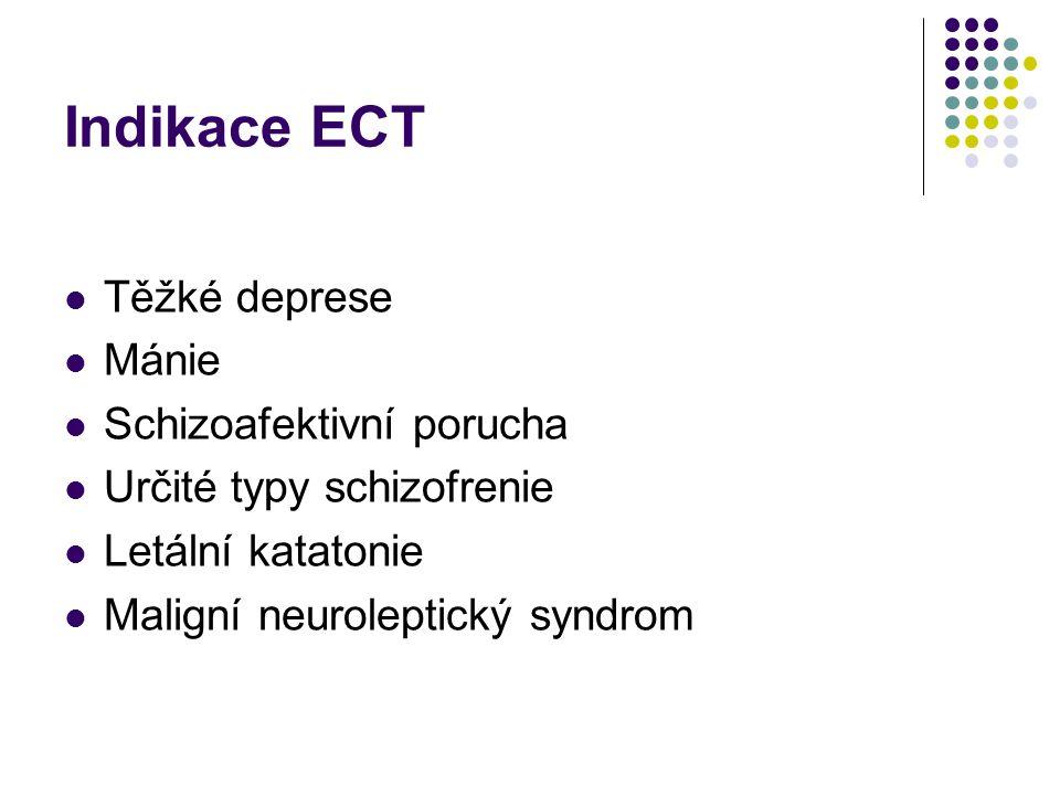 Indikace ECT Těžké deprese Mánie Schizoafektivní porucha Určité typy schizofrenie Letální katatonie Maligní neuroleptický syndrom