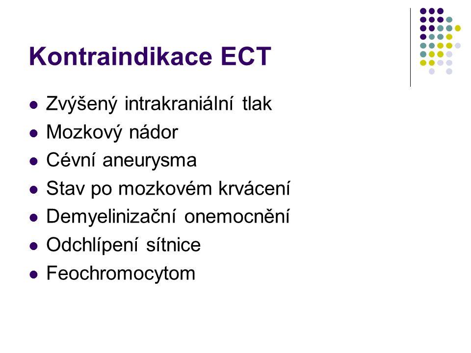 Kontraindikace ECT Zvýšený intrakraniální tlak Mozkový nádor Cévní aneurysma Stav po mozkovém krvácení Demyelinizační onemocnění Odchlípení sítnice Fe