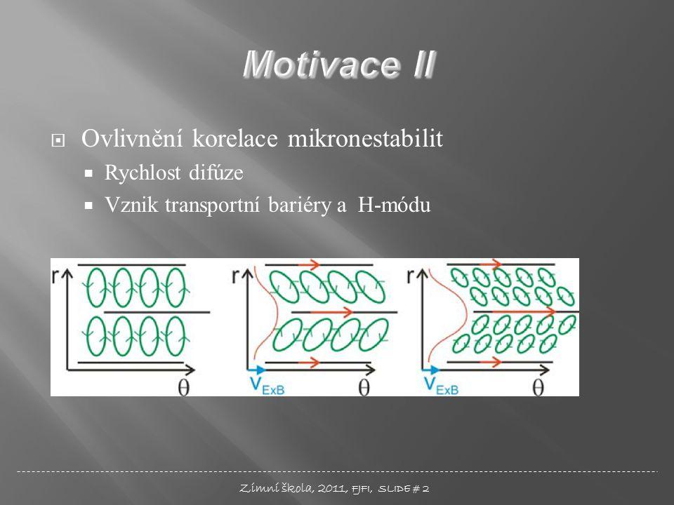  Ovlivnění korelace mikronestabilit  Rychlost difúze  Vznik transportní bariéry a H-módu Zimní škola, 2011, FJFI, SLIDE # 2