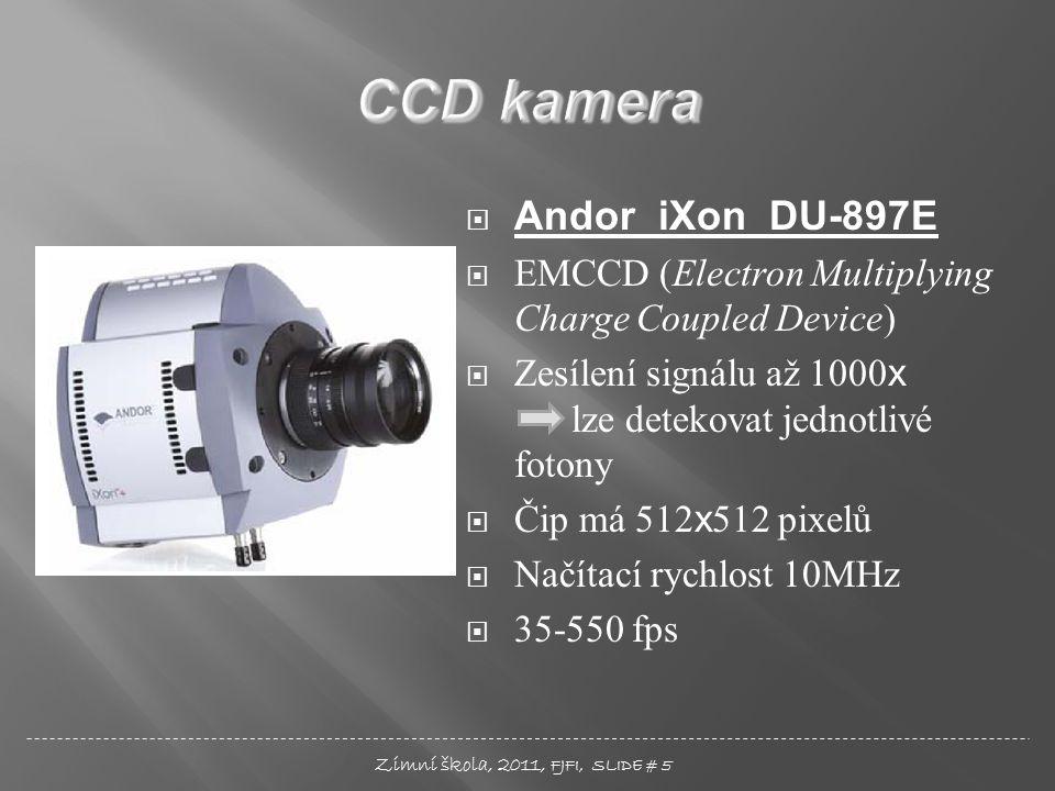  Andor iXon DU-897E  EMCCD (Electron Multiplying Charge Coupled Device)  Zesílení signálu až 1000 x lze detekovat jednotlivé fotony  Čip má 512 x 512 pixelů  Načítací rychlost 10MHz  35-550 fps Zimní škola, 2011, FJFI, SLIDE # 5