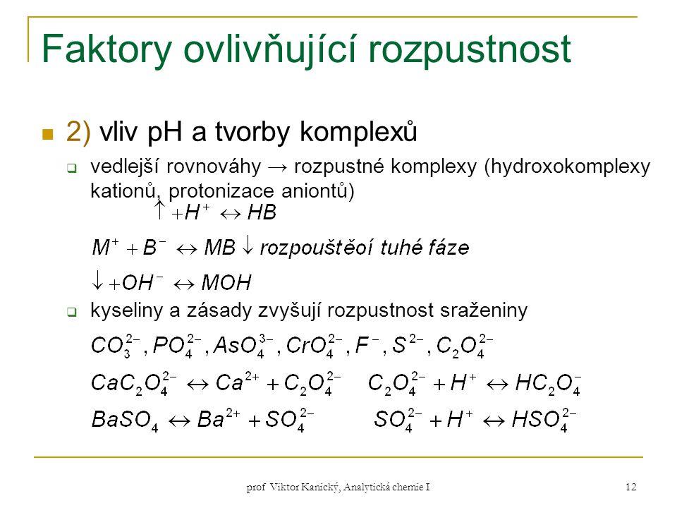 prof Viktor Kanický, Analytická chemie I 12 Faktory ovlivňující rozpustnost 2) vliv pH a tvorby komplexů  vedlejší rovnováhy → rozpustné komplexy (hy