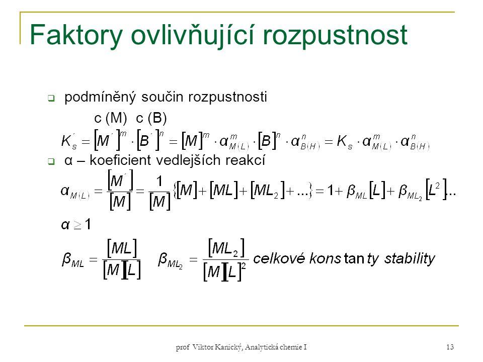 prof Viktor Kanický, Analytická chemie I 13 Faktory ovlivňující rozpustnost  podmíněný součin rozpustnosti c (M) c (B)  α – koeficient vedlejších re