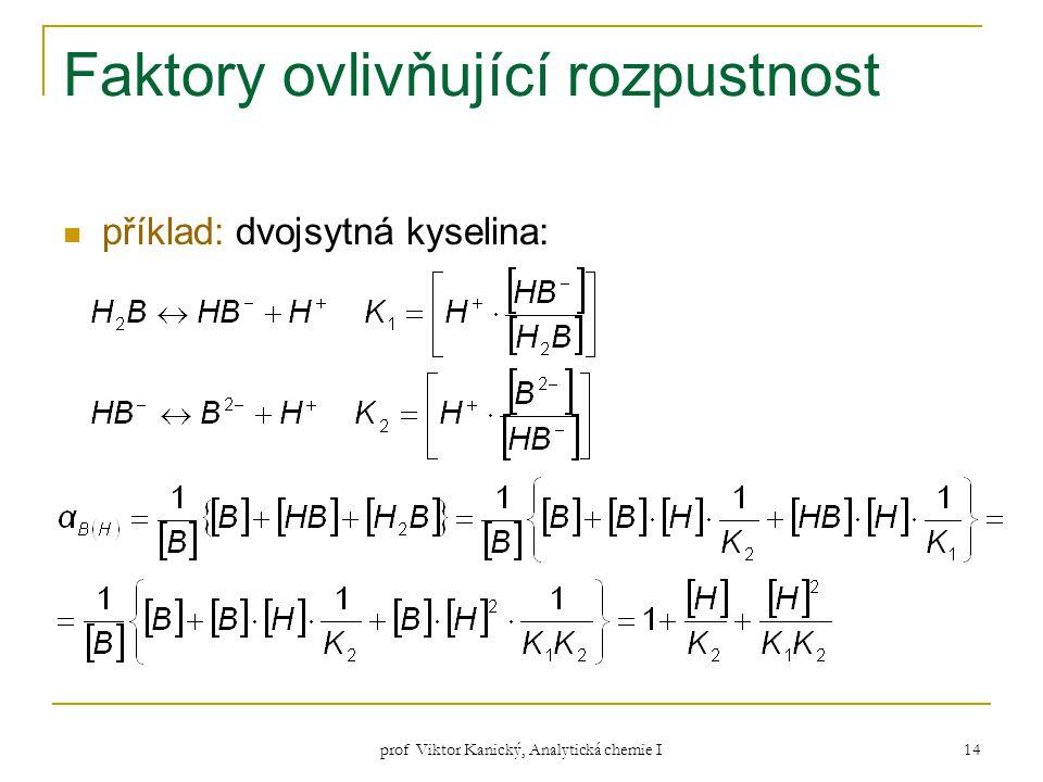 prof Viktor Kanický, Analytická chemie I 14 Faktory ovlivňující rozpustnost příklad: dvojsytná kyselina: