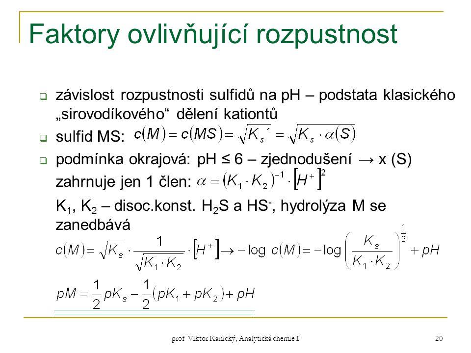 """prof Viktor Kanický, Analytická chemie I 20 Faktory ovlivňující rozpustnost  závislost rozpustnosti sulfidů na pH – podstata klasického """"sirovodíkové"""