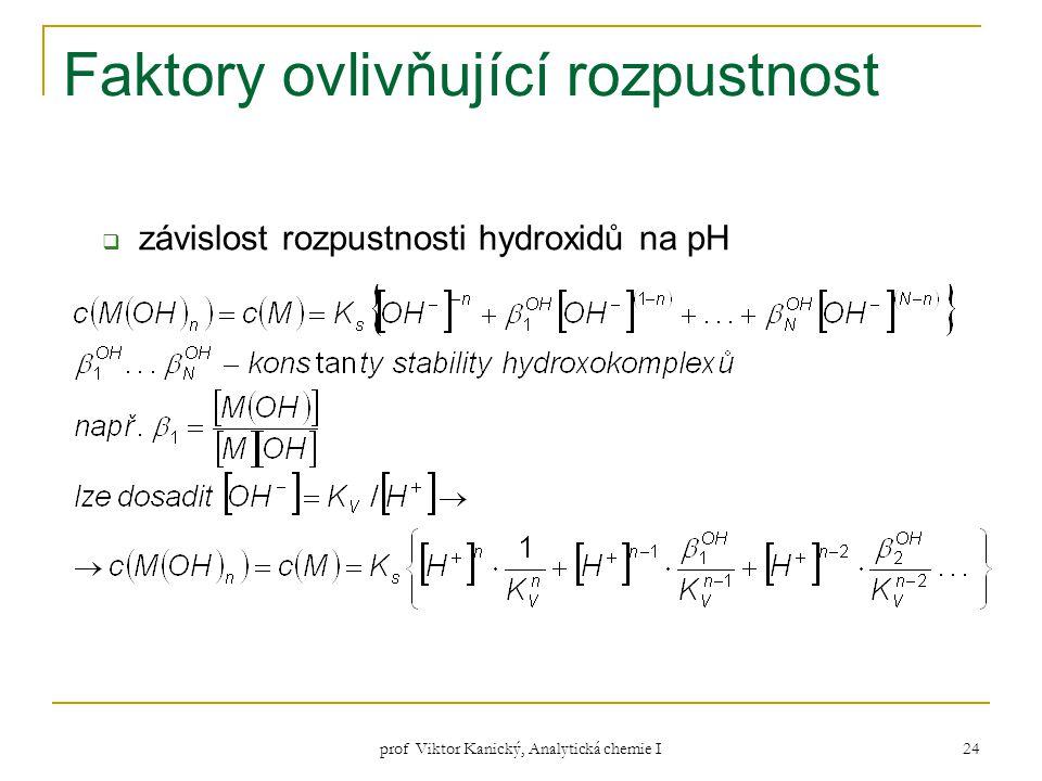 prof Viktor Kanický, Analytická chemie I 24 Faktory ovlivňující rozpustnost  závislost rozpustnosti hydroxidů na pH