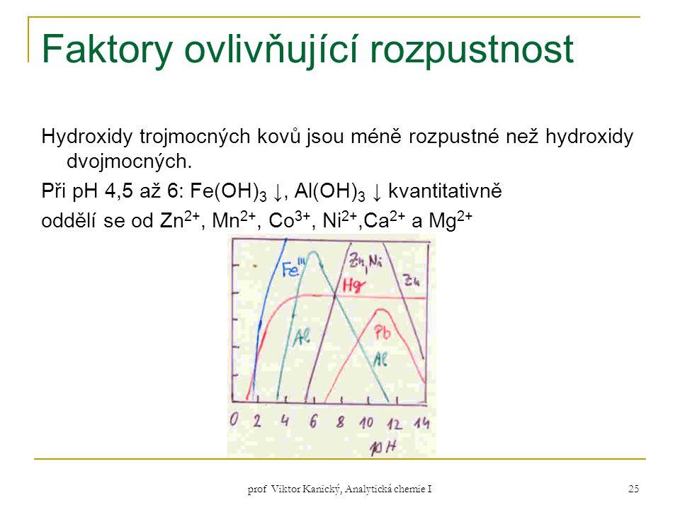 prof Viktor Kanický, Analytická chemie I 25 Faktory ovlivňující rozpustnost Hydroxidy trojmocných kovů jsou méně rozpustné než hydroxidy dvojmocných.