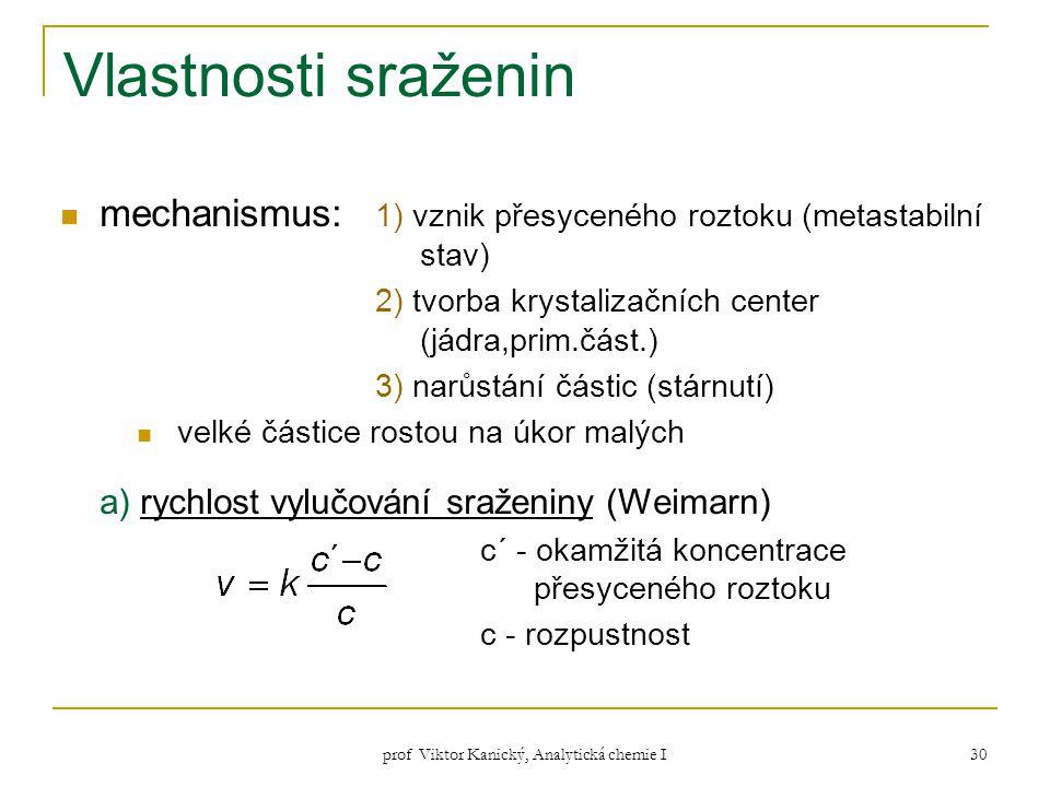 prof Viktor Kanický, Analytická chemie I 30 Vlastnosti sraženin mechanismus: 1) vznik přesyceného roztoku (metastabilní stav) 2) tvorba krystalizačníc