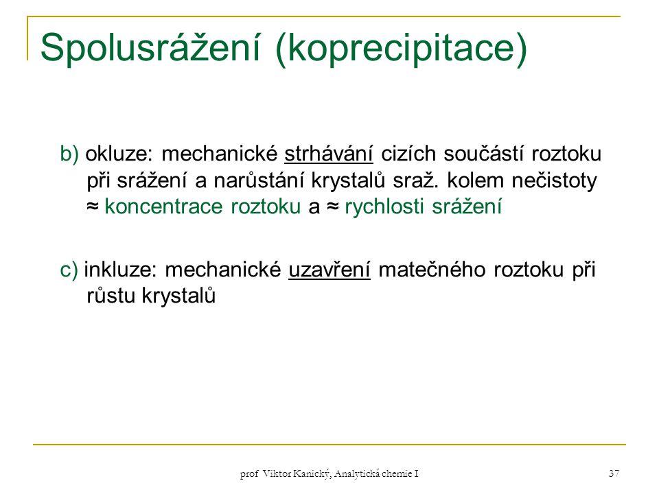 prof Viktor Kanický, Analytická chemie I 37 Spolusrážení (koprecipitace) b) okluze: mechanické strhávání cizích součástí roztoku při srážení a narůstá