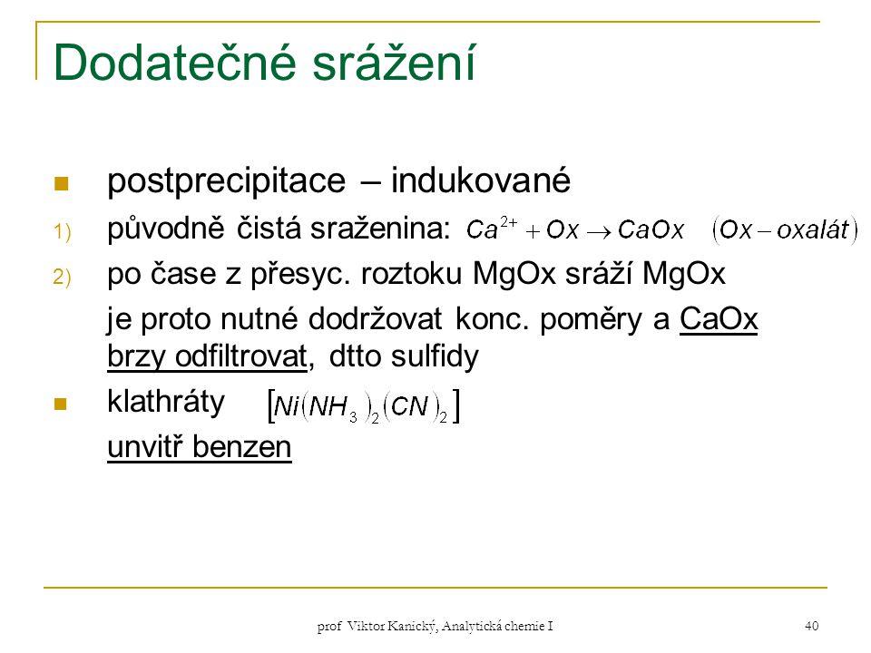 prof Viktor Kanický, Analytická chemie I 40 Dodatečné srážení postprecipitace – indukované 1) původně čistá sraženina: 2) po čase z přesyc. roztoku Mg