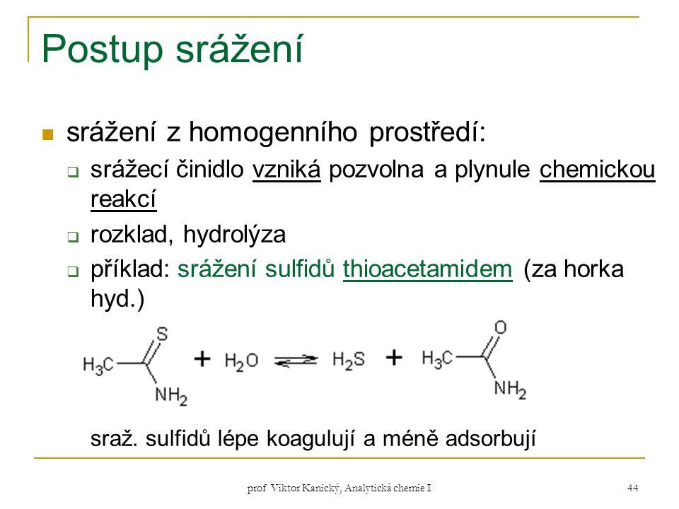 prof Viktor Kanický, Analytická chemie I 44 Postup srážení srážení z homogenního prostředí:  srážecí činidlo vzniká pozvolna a plynule chemickou reak