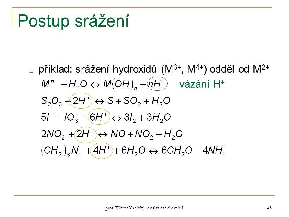 prof Viktor Kanický, Analytická chemie I 45 Postup srážení  příklad: srážení hydroxidů (M 3+, M 4+ ) odděl od M 2+ vázání H +