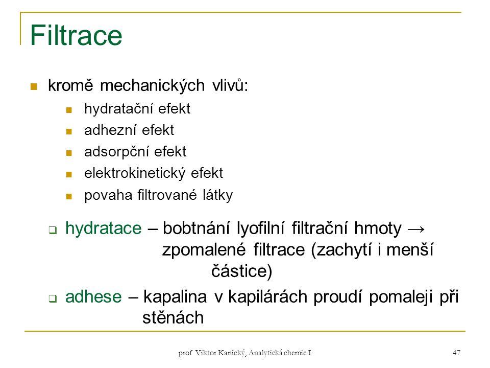 prof Viktor Kanický, Analytická chemie I 47 Filtrace kromě mechanických vlivů: hydratační efekt adhezní efekt adsorpční efekt elektrokinetický efekt p