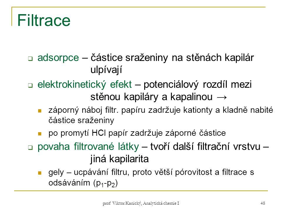 prof Viktor Kanický, Analytická chemie I 48 Filtrace  adsorpce – částice sraženiny na stěnách kapilár ulpívají  elektrokinetický efekt – potenciálov