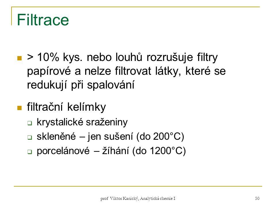 prof Viktor Kanický, Analytická chemie I 50 Filtrace > 10% kys. nebo louhů rozrušuje filtry papírové a nelze filtrovat látky, které se redukují při sp