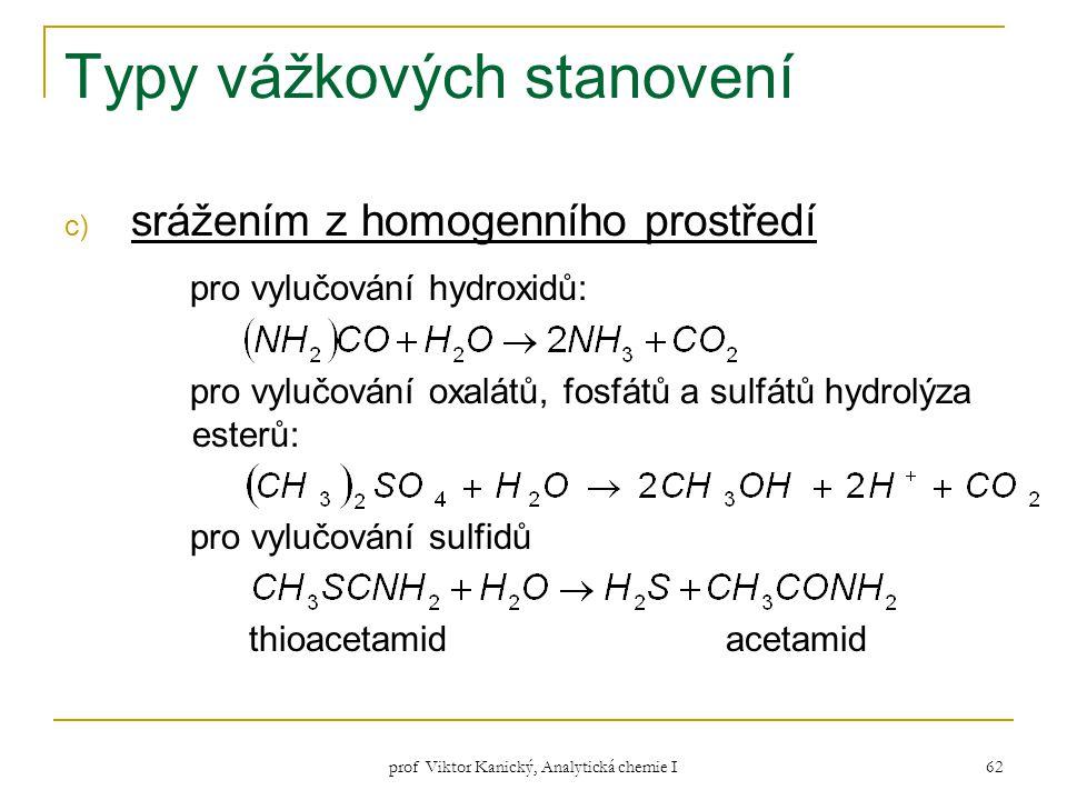 prof Viktor Kanický, Analytická chemie I 62 Typy vážkových stanovení c) srážením z homogenního prostředí pro vylučování hydroxidů: pro vylučování oxal