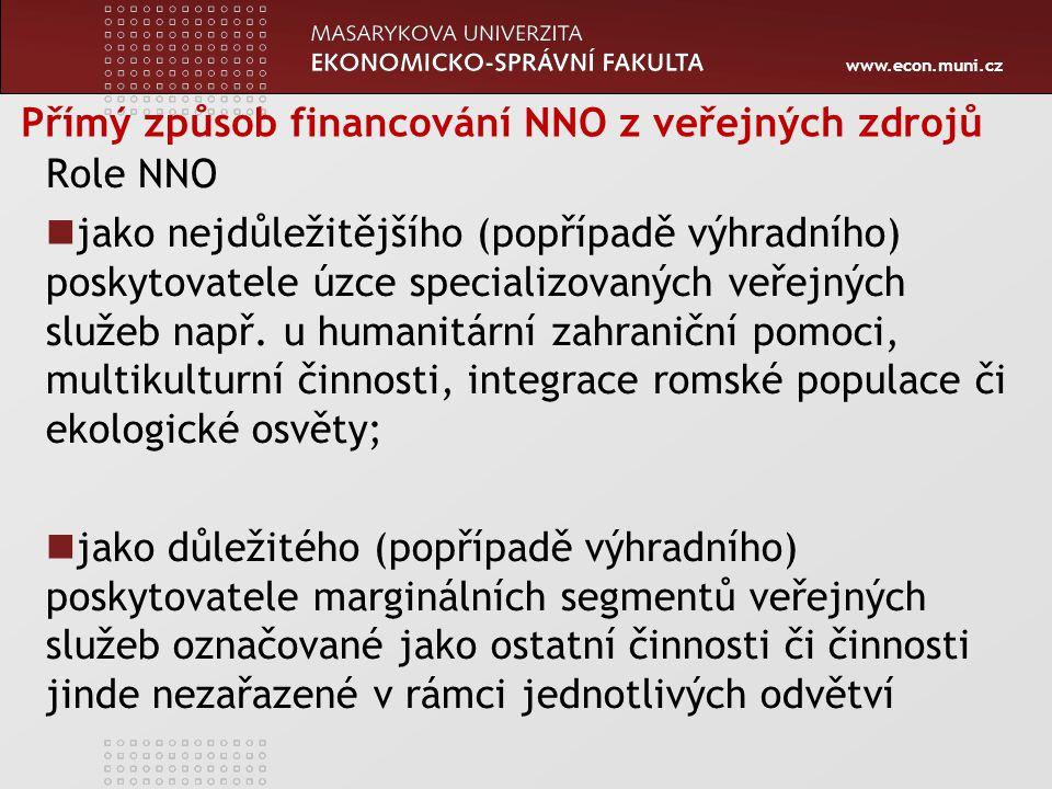 www.econ.muni.cz Přímý způsob financování NNO z veřejných zdrojů Role NNO jako nejdůležitějšího (popřípadě výhradního) poskytovatele úzce specializovaných veřejných služeb např.